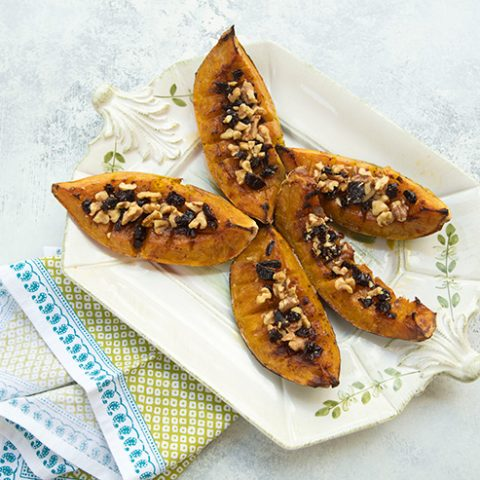 Caramelized Roasted Acorn Squash Wedges With Dried Cherries & Walnuts
