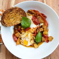 Roasted Mediterranean Vegetables With Eggs