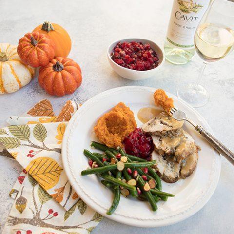Mushroom & Chestnut Stuffed Roast Turkey Breast For Cavit Wine
