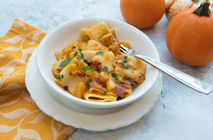 A creamy pasta dish made with pureed squash and pancetta.