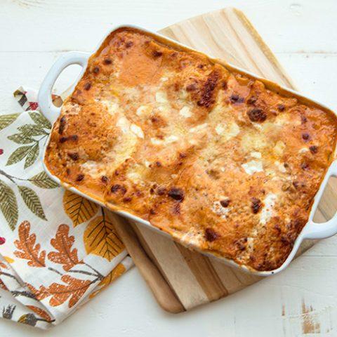 Lasagna With Creamy Roasted Tomato Turkey Ragu