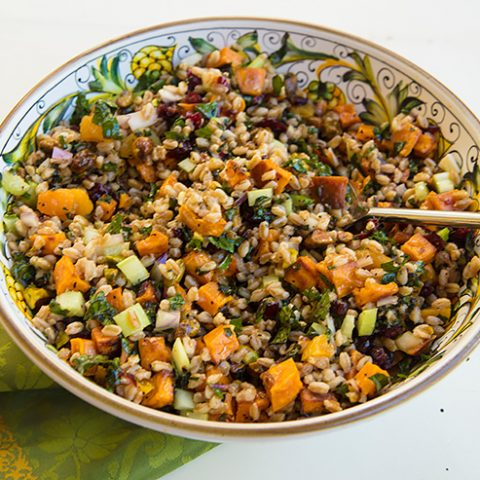 Holiday Farro Salad With Sweet Potatoes, Kale, Dried Cranberries, & Pistachios