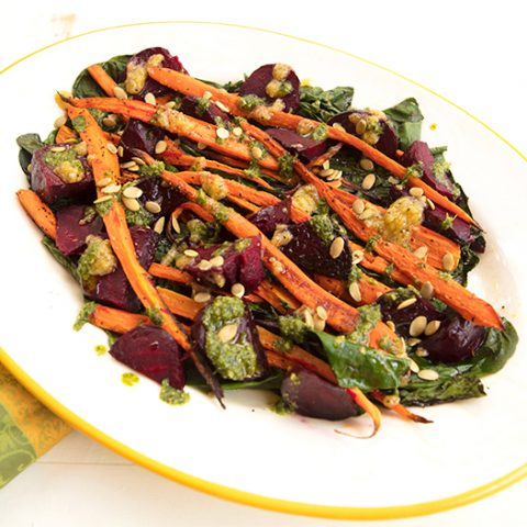 Roasted Carrots & Beets With Carrot Top Pesto