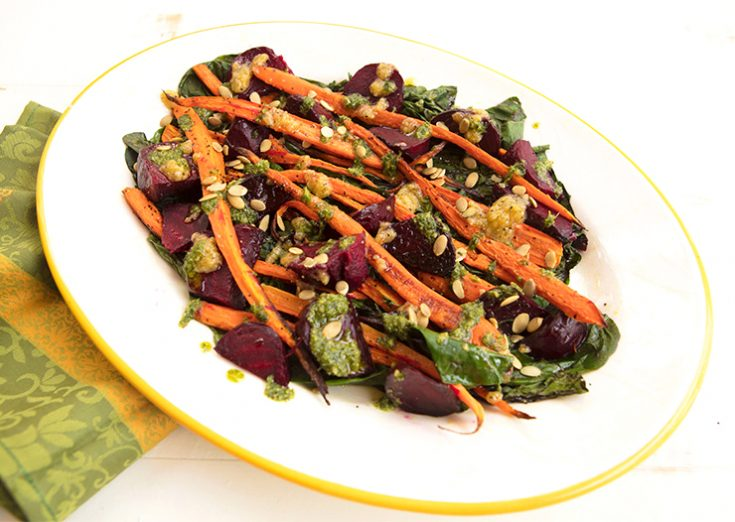 Roasting both beets and carrots create a delicious combination.