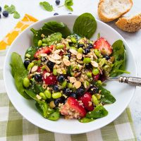 Quinoa, Berry, & Spinach Salad With Honey Poppy Seed Dressing