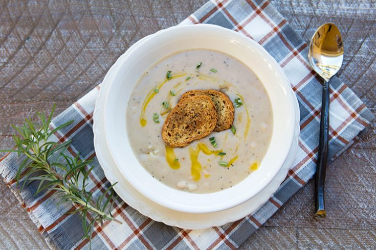 A creamy, hearty soup made from canned or dried beans.