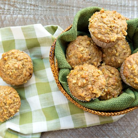Healthier Roasted Banana Nut Muffins