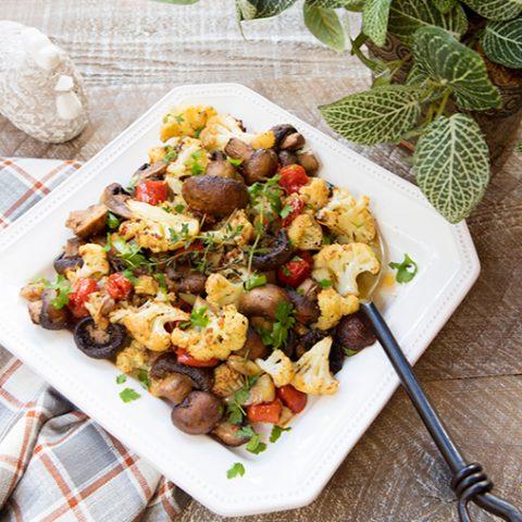 Roasted Mushroom, Cauliflower, & Tomato Medley