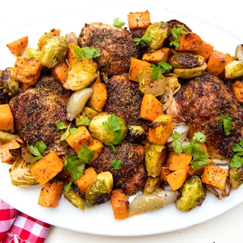 Sheet Pan Roasted Chicken Thighs With Sprouts & Sweet Potatoes