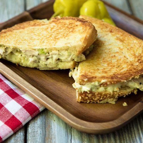 Chicken Salad Panini WIth Pesto & Fontina Cheese