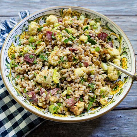 Roasted Cauliflower Farro Salad With Salami & Raisins