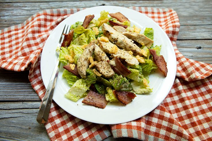 A low carb Caesar salad with grilled chicken.