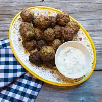 Grilled Lamb Meatballs With Yogurt Sauce