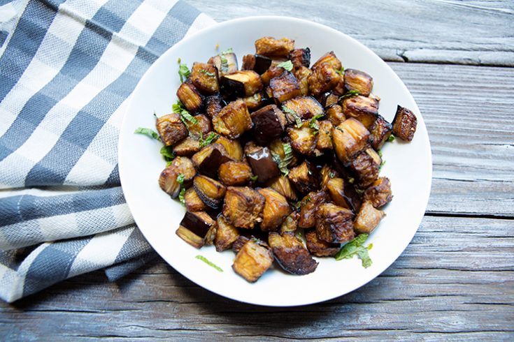 Roasting eggplant brings out its natural earthiness creating a delicious veggie side dish.