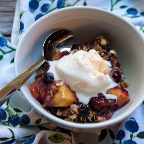 Red Haven Peach & Blueberry Crisp