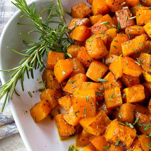 Roasted Butternut Squash With Cinnamon & Maple
