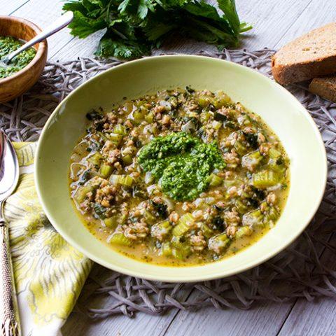 Celery, Farro, & Sausage Soup