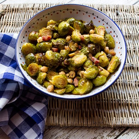 Maple Glazed Brussels Sprouts With Pancetta & Hazelnuts