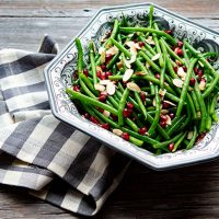 Holiday Green Beans With Toasted Almonds & Pomegranate Arils