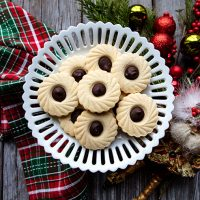 Stamped Marzipan Cookies With Dark Chocolate