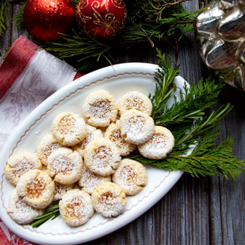 Rosemary Thumbprint Cookies With Orange Marmalade