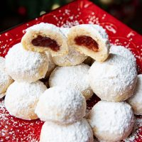 Filled Almond Snowball Cookies