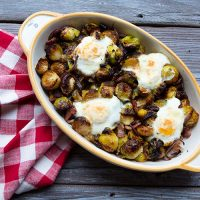 Roasted Brussels Sprouts With Bacon, Onions, & Eggs