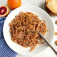 Pasta With Garlic, Chili, Walnuts & Blood Oranges