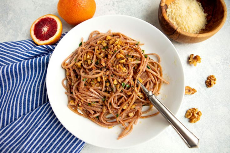 A unique pasta dish flavored with oranges, garlic, & chili.