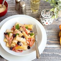 Goat Cheese & Roasted Pepper Pasta For Mom