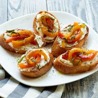 Bruschetta With Goat Cheese & Roasted Peppers
