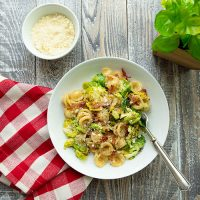 Orecchiette With Charred Sprouts And Creamy Egg & Cheese Sauce