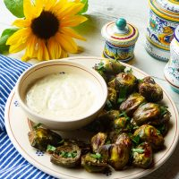 Oven Roasted Baby Artichokes With Lemon Pepper Dipping Sauce