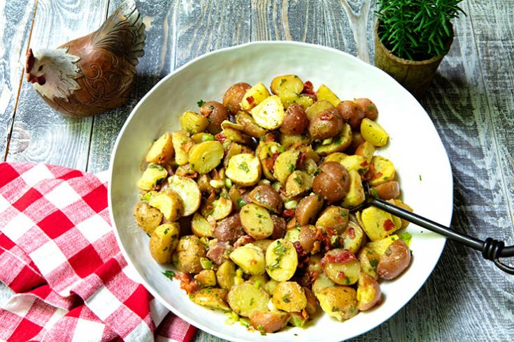 A baby potato salad made with a zesty vinaigrette instead of a mayonnaise-based dressing.