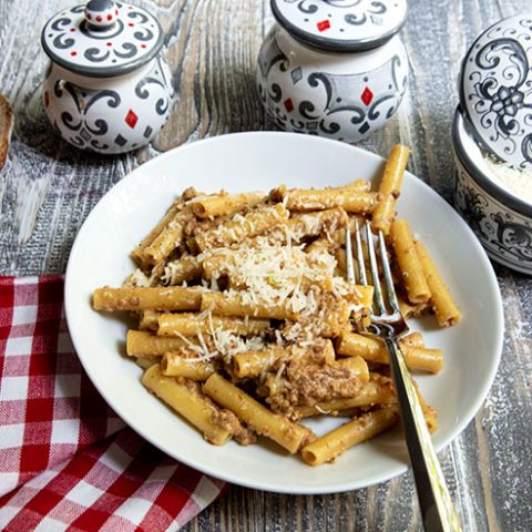 Pasta with Sausage, Walnuts, & Vincotto