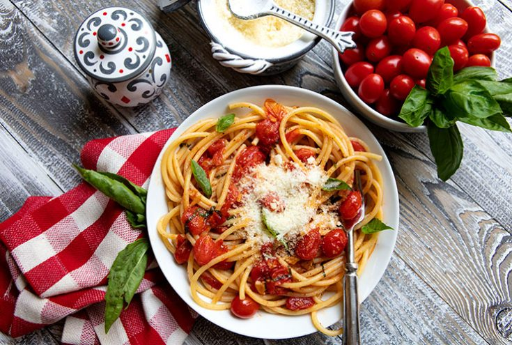 An easy pasta dish using fresh, ripe cherry tomatoes that can be prepared in minutes.