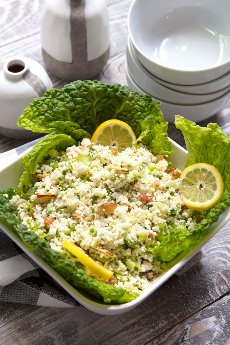 A lemon flavored raw cauliflower salad that pairs well with grilled meat and poultry.