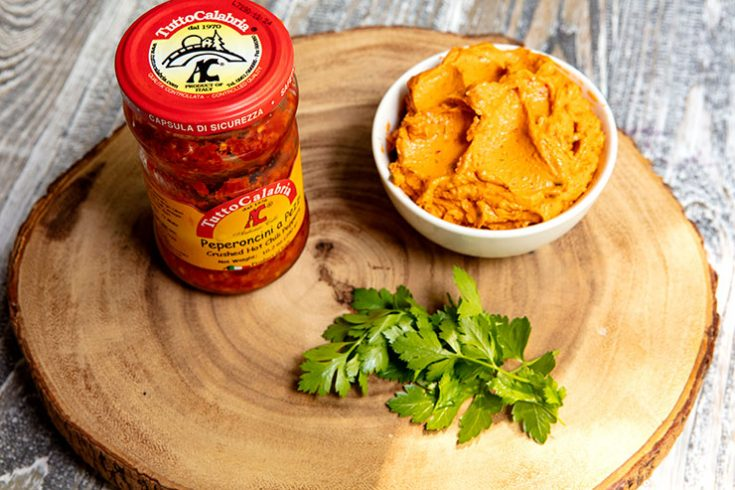 A creamy, spicy spread that is great stirred into hot pasta or to top grilled meat or poultry.