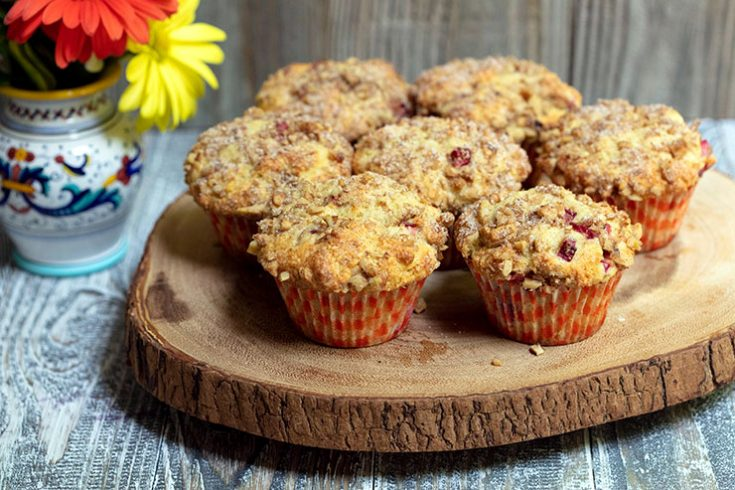 Moist, tender muffins studded with rhubarb and made healthier with whole grain flour.