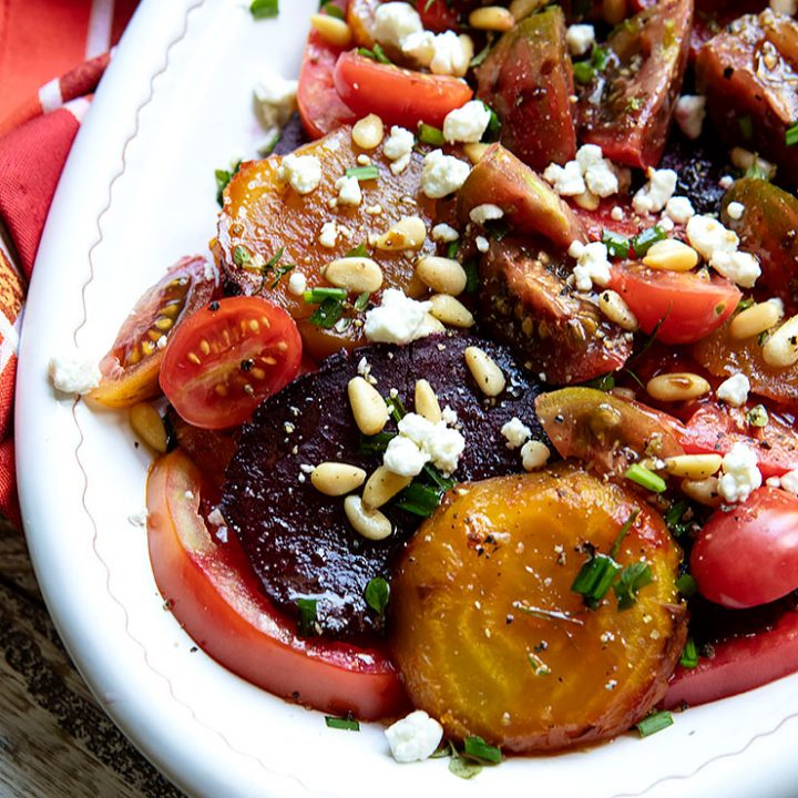 Heirloom Tomato & Beet Salad with Goat Cheese Crumbles