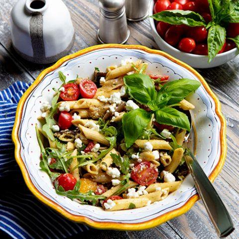 Grilled Veggie Pasta Salad With Pesto Dressing