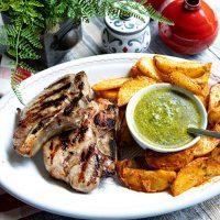 Tender & Moist Brined Pork Chop With Salsa Verde