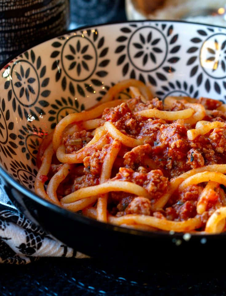 A meaty ragu sauce for pasta using four different types of pork.