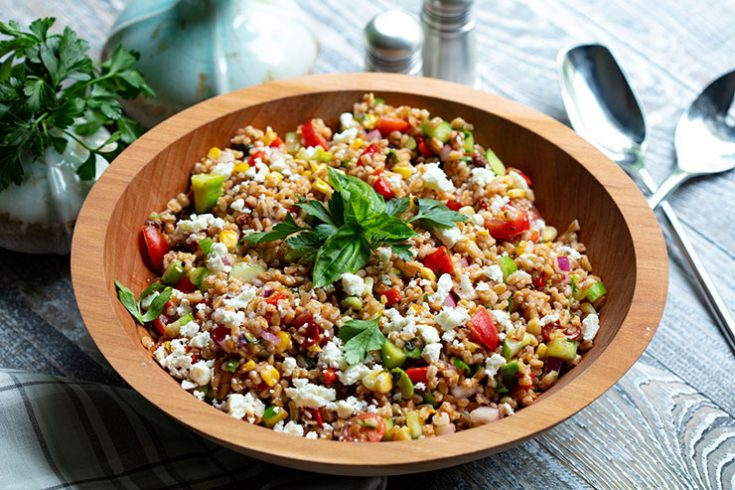 A hearty  grain and vegetable salad to celebrate the end of summer and beginning of fall.