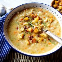 Creamy White Bean Soup With Rosemary & Pancetta