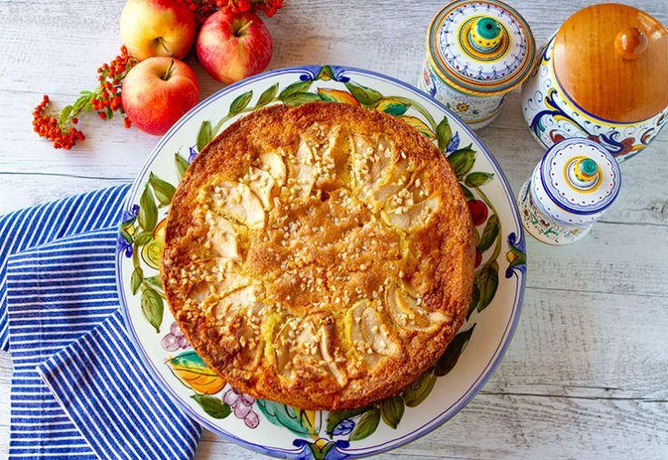 A very moist cake made with thinly sliced apples in an almond flavored batter.