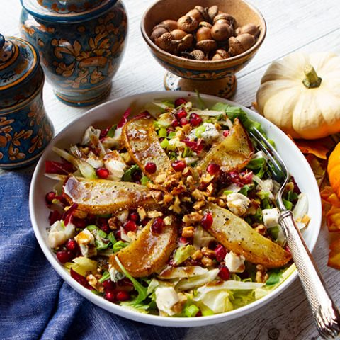 Fall Harvest Salad With Roasted Pears, Bitter Greens, & Gorgonzola