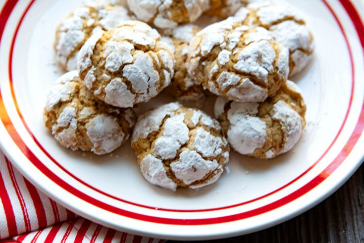 Tender holiday cookies flavored with gingerbread spices.