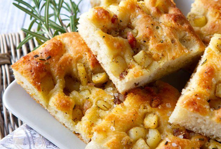 A tender potato flavored focaccia from Puglia.