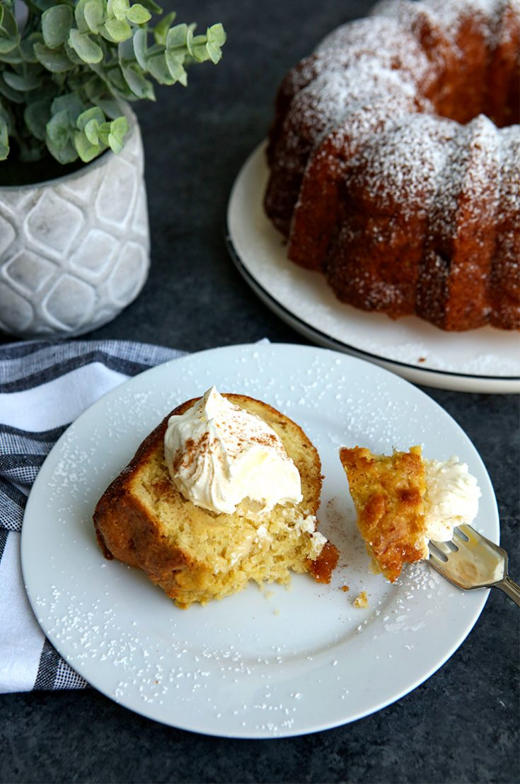 A moist apple studded cake made with heart healthy olive oil.